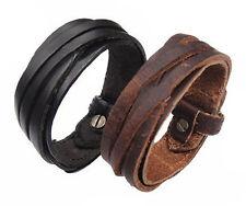 Vintage Leather Bracelet Bangle High Quality Genuine Cowhide Black or Brown