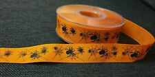 Halloween Ribbon - Orange Ribbon With Spider Patteren 1m