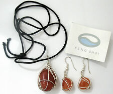Wrapped Carnelian Gemstones Feng Shui! Pendant & Earring Set w/Silver Wire
