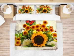 3D Sunflower Butterfly Bedding Duvet Cover Queen Comforter Cover Pillow Case