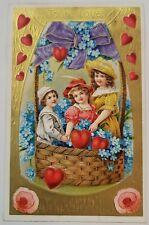 New ListingAntique Valentine Postcard Germany Children Amb Franklin Stamp Paper Cancelled