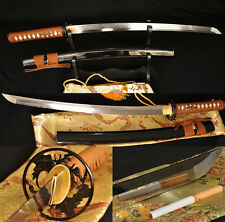 "Japanese Samurai Sword Wakizashi Handmade Full Tang 1095 Steel Clay Tempered 31"""