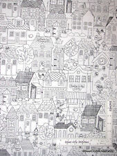 House Neighborhood Town White Cotton Fabric Timeless Treasures Row C4721 - Yard