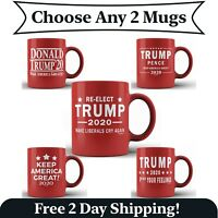 2 Pack - Funny Donald Trump Red Ceramic Coffee Mug MAGA Re-Elect Trump Pence