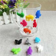 12PCS Cute Cup Wine Glass Drink Silicone Label Tag Markers Bottle Charms New J