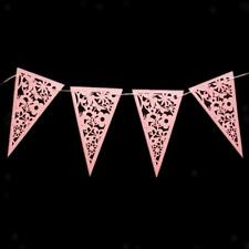 Pink Lilac Wedding Engagement Decor Lace Paper Bunting Banner Heart Flower