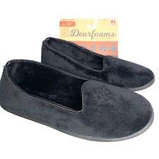 Dearfoams Womens Size XL 11-12 Rebecca Black Velour Slippers Memory Foam