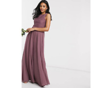 ASOS DESIGN Bridesmaid Maxi Dress with Soft Pleated Bodice in Mauve - SIZE UK 16
