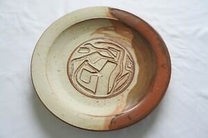 "LARGE 17"" CHARGER POTTERY/STONEWARE VTG MID-CENTURY MODERN TREE SIGNED JOHNSON"