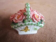 Portmeirion Basket Small Decorative Basket Ceramic Ladybug Pink Roses Butterfly