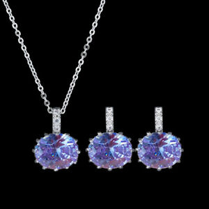 Valentine's Jewelry Set 2pcs Natural Amethyst Silver Charming Necklace Earrings