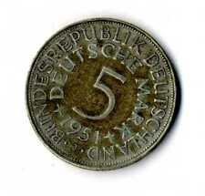 Moneda Alemania 1951 J 5 marcos plata .625 silver coin Deutsche Marck