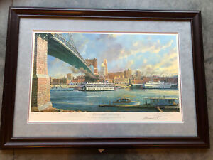"""Michael Blaser, numbered """"Cincinnati Morning"""" Lithograph Signed By Artist"""