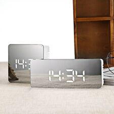Multifunction Digital Alarm Clock Mirror LED Night Light Thermometer Display