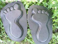"""Set 2 footprint feet plastic molds plaster concrete molds moulds 13""""L"""