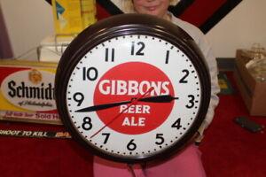 """Vintage 1950's Gibbons Beer & Ale Bar Gas Oil 16"""" Clock Sign WORKS"""