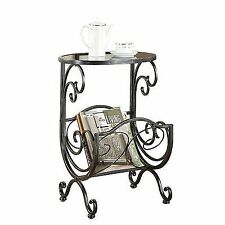 Metal Glass Side Table With Scroll Magazine Rack By Coaster Furniture 700401