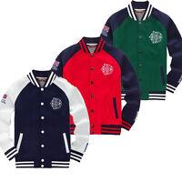 Men's American Casual Baseball Varsity Tops Jacket Pullover Jumper Sweatshirt