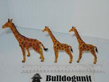Lot of 3 Giraffe Plastic Figure Toy Animal PVC Figurine 2011