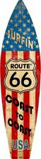 """Route 66 USA Metal Surfboard Sign 17"""" x 4.5"""" ↔ Beach Surfing Home Wall Decor"""