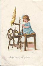 Spinn Mädchen, Spinnrad, Spinnen, Arbeit, Beruf, alte Ak um 1920 signiert Franke