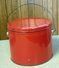 """6"""" Painted Red Metal Planter Bucket Pail Flower Pot with Lid & Wire Bail Handle"""