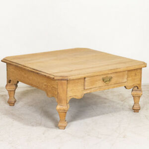 Antique Scrubbed Oak French Coffee Table With Two Drawers