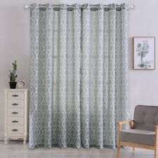CAROMIO Geometric Morocan Pattern Window  Curtain Panels With Tiebacks 52x84""