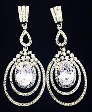 USA EARRING Using Swarovski Crystal Gemstone Silver Wedding Bridal Party CZ