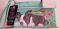 Hand painted Boston Terrier Jones New York Charging Pouch Mint Green Wristlet