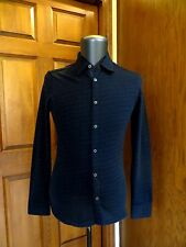 JOHN VARVATOS COLLECTION Navy Wool Cotton Check Slim Knit Shirt Small