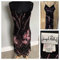 JOSEPH RIBKOFF Asymmetric Pink Rose Black Dress UK 14 Worn Once Cocktail Party