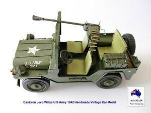 1942 Jeep Willys U.S Army Replica Cast Iron Handmade Vintage Car Model AUS STOCK