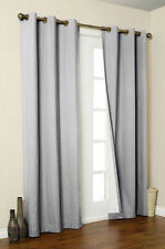 4 SILVER PANEL MICROFIBER  BLACKOUT HEAVY GROMMET WINDOW CURTAIN LINED DRAPE