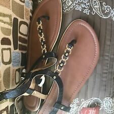 Women's  Thong sandals by Faded Glory, sz 11 med, black&gold trim, new with tags