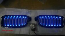 GLOSS BLACK FRONT KIDNEY GRILLE WITH BLUE LED BMW F30 F31 F35 3 SERIES 2012-ON