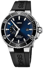 New Oris Aquis Date Blue Dial Rubber Strap Men's Watch 74377334135RS