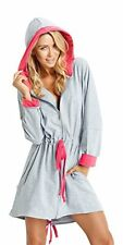 Ladies Soft Short Length Hooded Dressing Gown House Coat With Zip Front Pink 42