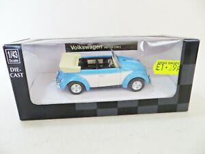NEWRAY '1951 VW 1200 BEETLE CABRIOLET' BLUE/WHITE 1:43. MIB/BOXED. CITY CRUISER.
