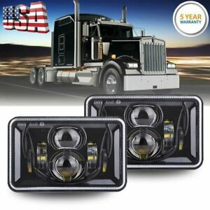 """Pair 4x6"""" inch LED Headlight DRL High Low Black Sealed Beam for Chevrolet Camaro"""