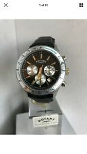 Rotary Men's Chronograph GS03906/04 Swiss Movement Black Leather Strap Watch