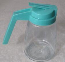 New listing Vintage Federal Housewares Syrup Creamer Glass Jar Turquoise Aqua Blue Lid Usa