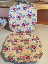 """2 Royal Winton Grimwades WELBECK chintz,square 8 3/8"""" luncheon plates,a pair"""
