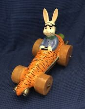 EASTER White Bunny Rabbit Orange Carrot Race Car Small Cookie/ Candy Jar