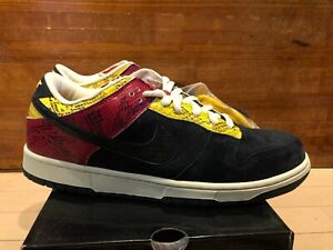 2007 Nike Dunk Low Pro SB Coral Snake Red Yellow Black Suede size 12
