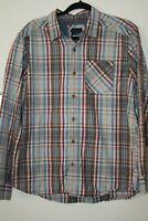 prAna Mens Long Sleeve Shirt Red Blue Plaid Checks Pocket Size L