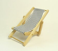 Dolls House Miniature Deckchair With Blue& White Stripes 12th Scale