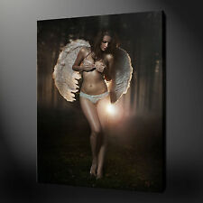 "ANGEL GIRL EROTIC MODERN PICTURE BOX CANVAS PRINT 20""x16"" FREE UK P&P"