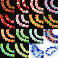 """32"""" Strd Two Tone Baking Painted Glass Beads Round Loose Beads Beading Craft 8mm"""