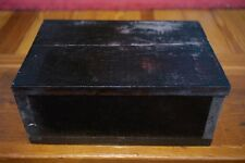 Vintage Solid Pine Wood Mahogany Black Stained Red Velvet Lined Storage Box